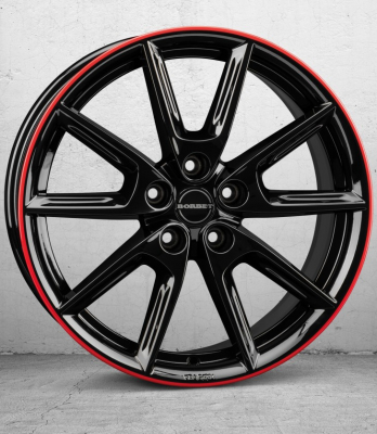 LX18 black glossy Rim red